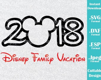INSTANT DOWNLOAD SVG Disney Vacation 2018 Inspired Mickey Mouse Ears for Cutting Machines Svg, Esp, Dxf and Jpeg Format Cricut Silhouette