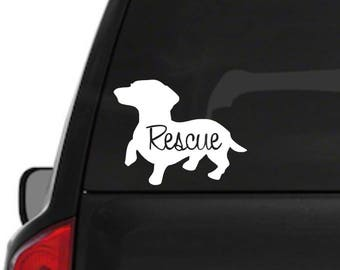 Dachshund Rescue Dog Decal
