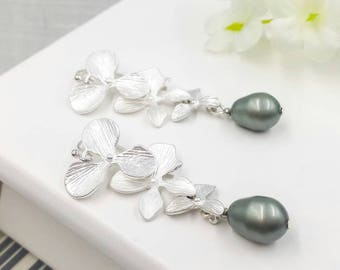 Silver Orchid Sage Pearl Drop Earrings, Matte Silver Cascade Flower Green Teardrop Earrings, Wedding Bridal Bridesmaid Mom Gift for Her