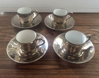 CP & Co Mehun France Silver Cups and Saucers (Set of 4)