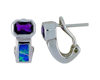 Sterling Silver Blue Opal Clip Earrings Amethyst