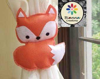 "7x6"" Kawaii Orange and White Felt Baby Fox Curtain Tieback Holdback Decor - Foxy nursery room decoration"