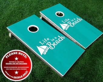 Life is a Beach Cornhole Board Decals, 4PC Beach House Cornhole Decal Set, Cornhole Ring Decals, Cornhole Decals, DIY Sticker Kit