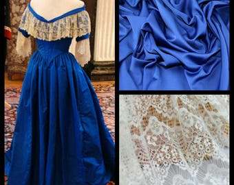 Custom Made Queen Victoria Satin and Lace Royal Blue Civil War Ball Gown