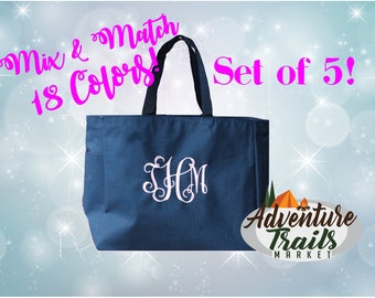 5 Bridal Party Totes, Monogrammed Tote, Set of 5, Beach Tote, Bridesmaid Tote, Wedding Tote, Wedding gift, Bridesmaid Gift, Personalized