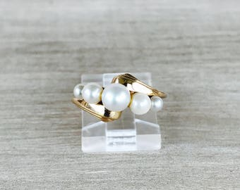 CLEARANCE 14k yellow gold and graduated pearl ring