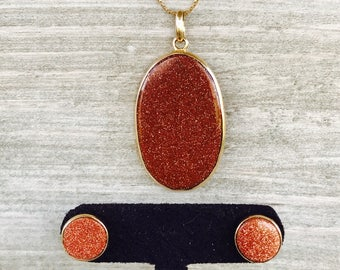 14k goldstone vintage necklace and earrings set