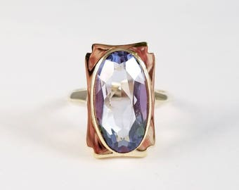 Synthetic blue spinel ring in yellow gold