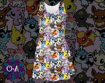 Eeveelutions Dress - Eevee Dress Pokemon Dress Pokemon Skater Dress Flareon Leafeon Glaceon Vaporeon Sylveon Umbreon Jolteon Espeon Dress