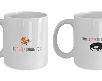Typesetter Gift - Font Designer Mug - Set of Two - The Quick Brown Fox Jumped Over the Lazy Dog