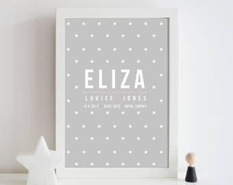 Baby name nursery print