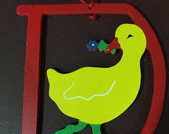 """CHRISTMASINJULY Vintage Wood Animal / Letter ornaments """"D for Duck"""""""