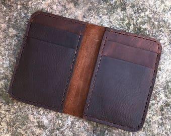 Handstitched Vertical Wallet Kodiak Oil-tanned Leather