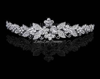 Silver Crystal Rhinestone Flower Tiara with Comb, Silver Bridal Hair Comb, Rhinestone Comb, Bridal Hair Comb, Wedding Hair Comb, Hair Comb