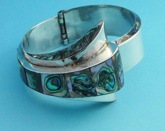 Vintage Mexican Silver Art Deco Abalone Bangle