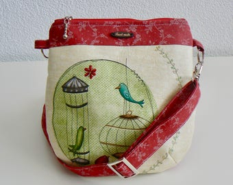 Crossbody bag, for kids, present, for girls, crossbody bag for girls, children, gift, red, green, birds, princess