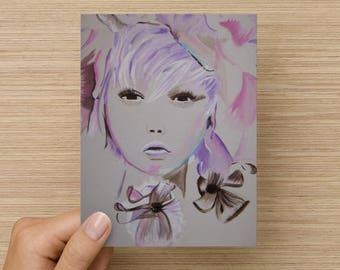 Birthday card / Blank inside / Original artwork card / Unique cool young artwork card / Flower girl artwork / Fashion artwork greeting card