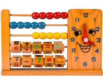 FREE SHIPPING: Vintage Kids Wood Abacus Clock Toy - Colorful Natural Materials Learning Device