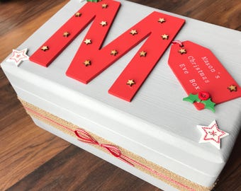 Personalised grey Christmas Eve box with hessian and red ribbon detail
