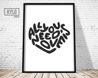 Valentines Gift, Love Print, Gift For Her, Love Quote Print, Typography Print, Love Printable Art, Digital Print, Instant Download, Beatles
