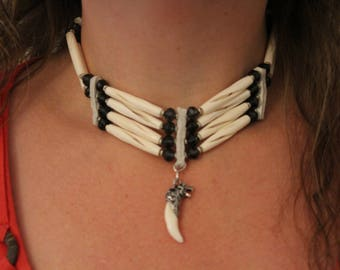 Real Native American Necklace with Wolf
