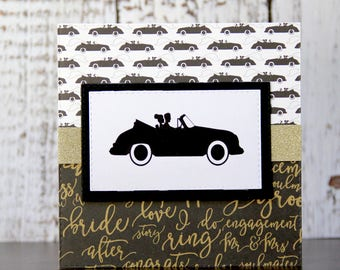 Romantic wedding card in gold