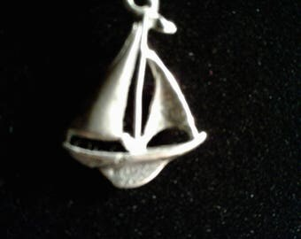 3D Antiqued Sterling Silver Sail Boat Charm