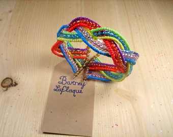 Beads Bracelet 9 rows braided wire