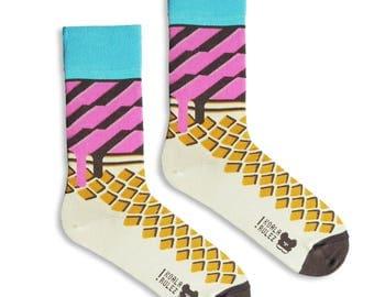 ITALIAN soft ICE CREAM valentines or summer socks gift I mens socks I women socks I funny groom socks I socken I calcetines I chaussettes