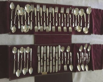 """Vintage William A. Rogers - IS """"Triumph"""" 1941 Extra Silver Plate Flatware - 50 Pieces Polished"""