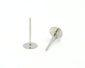 Platinum 20 pins for earrings with 6mm tray