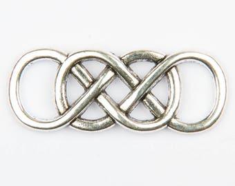 10 double infinity silver connectors antique