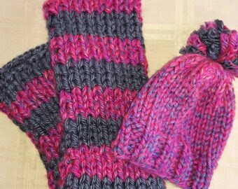 Hand Knit Hat and Scarf set