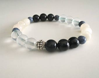 Blue Agate, Blue Topaz, Blue Coral *Yoga Jewelry *Strech Bracelet *Stackable *Boho Jewelry