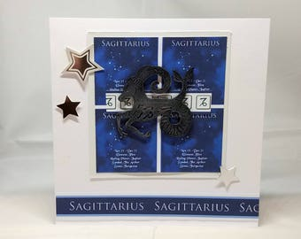 Sagittarius Horoscope Birthday Card - Zodiac/Star Sign -luxury personalised unique quality special astrological UK