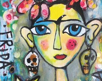Frida Kahlo 60 with cat, Original Gemälde, Mixed Media Portrait, Acrylbild, Malerei, Mischtechnik