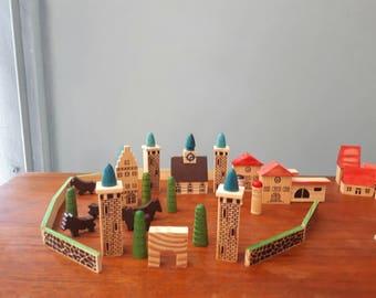 Vintage Wooden Erzgebirge Village Houses Train Miniatures 56 Pieces
