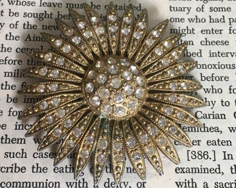 Antique 1940's Rhinestone Flower Brooch Agent Carter Pin Up Vintage Style Mad Men