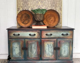 SOLD Beautiful multi colored sideboard buffet