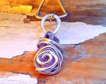 Natural Amethyst Crystal Healing Pendant on Silver Plated Chain