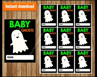 Baby Ghost Thank You Tags - Halloween Tags - Halloween Favor Tags - Halloween Gift Tags - Halloween Labels - Halloween Treat Tags