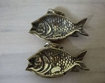 Pair of Solid Brass Fish Dishes/Ashtrays/Brass Fish/Vintage Brass/Home Decor/Collectable/Gifts