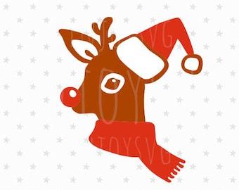 Rudolph SVG, Rudolph svg File, Rudolph the red nosed svg, Reindeer svg file, Raindeer svg, Christmas deer svg Cutting file Silhouette Cricut