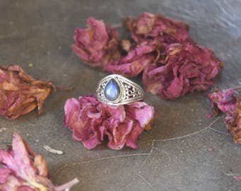 Sterling silver ring stone gemstone labradorite onyx tiger eye bague argent pierre oeil de tigre adjustable