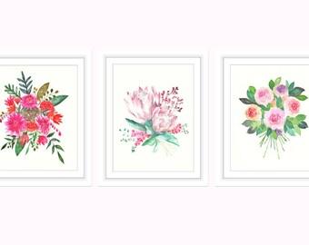 Floral Print, Flowers, Flower Girl, Flower Print, Set of 3 Prints, Floral Print, Prints Wall Art, Prints Set, Watercolor Print, Watercolor