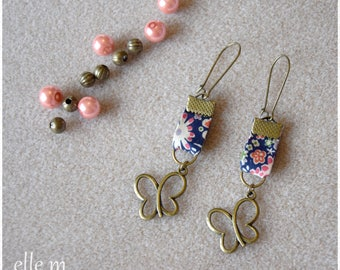 """""""Bucolic"""" liberty and bronze butterfly earrings"""