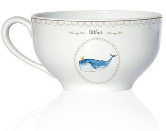 Child porcelain deep Bowl - model whale