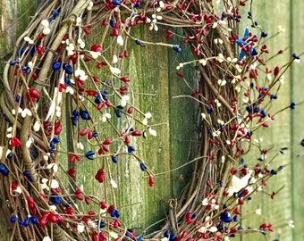 Summer wreath,Fourth of July Wreath,Americana Wreaths,Patriotic Wreath,Everyday Wreath,All Seasons Wreath,Wreath for 4th of July