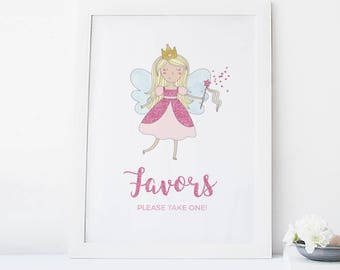 Princess favors sign, Fairy party favors sign, Printable favors sign Girls party favors sign Kids birthday favors sign Kid party favors sign