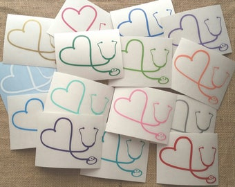 Heart Stethoscope Decal / Nurse Decal / Medical Decal